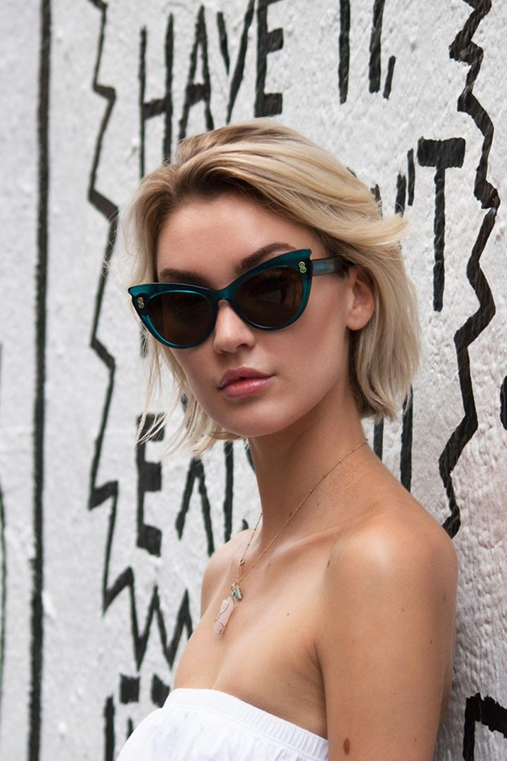 Rare Bird cat eye sunglasses in green by Vint & York. Made of high quality mater… – black hair trends