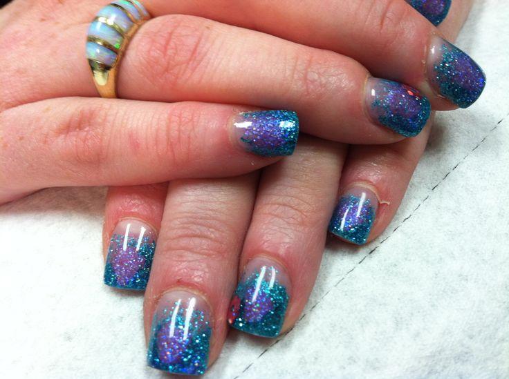 blue purple acrylic fade nails