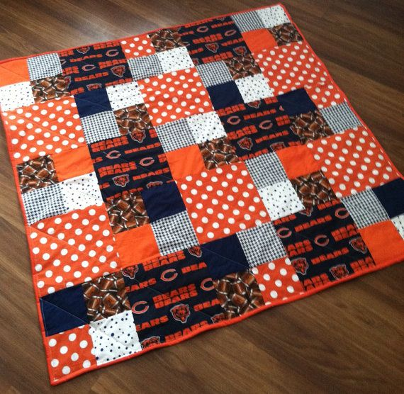 Chicago bears quilt. Baby toddler lap quilt by TickledPinkQuilts