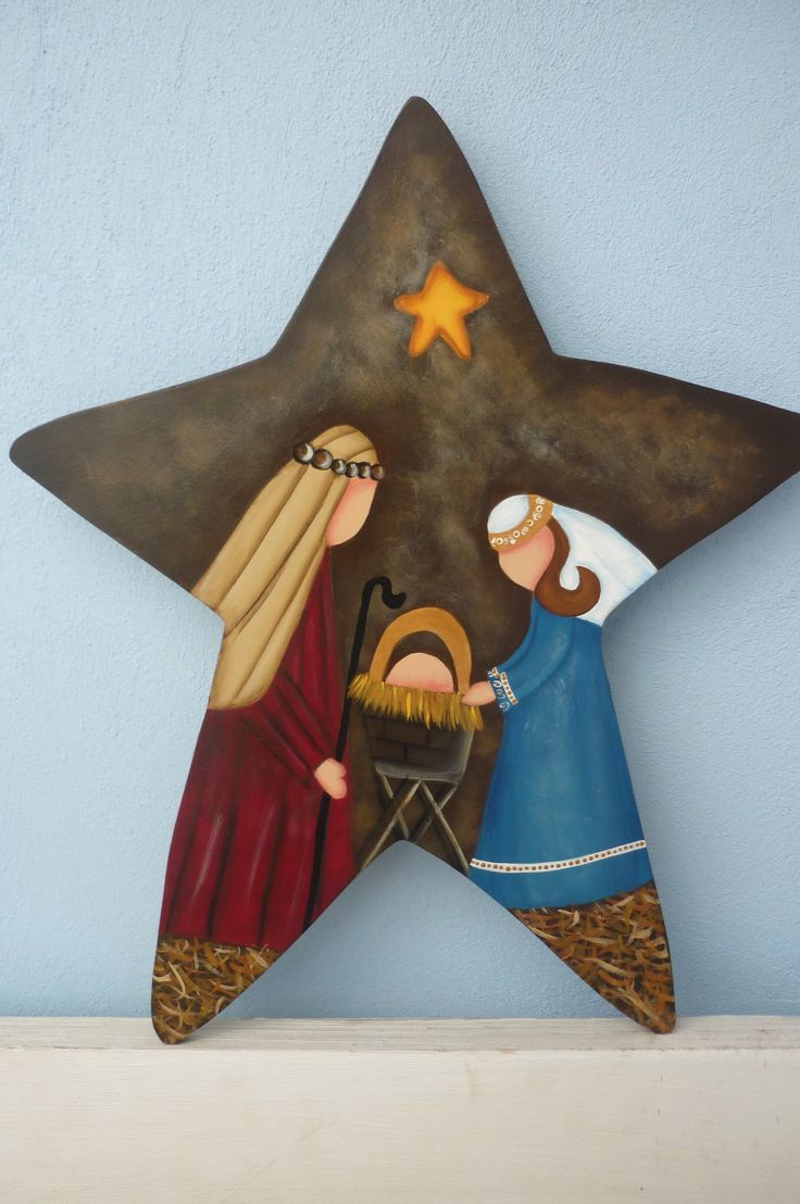 ~ Country Nativity on a Star ~ use craft paper and mod podge