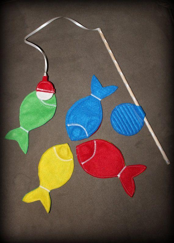 Magnetic Felt Fishing Game- Set of Four Fish and Fishing Pole. $12.00, via Etsy.