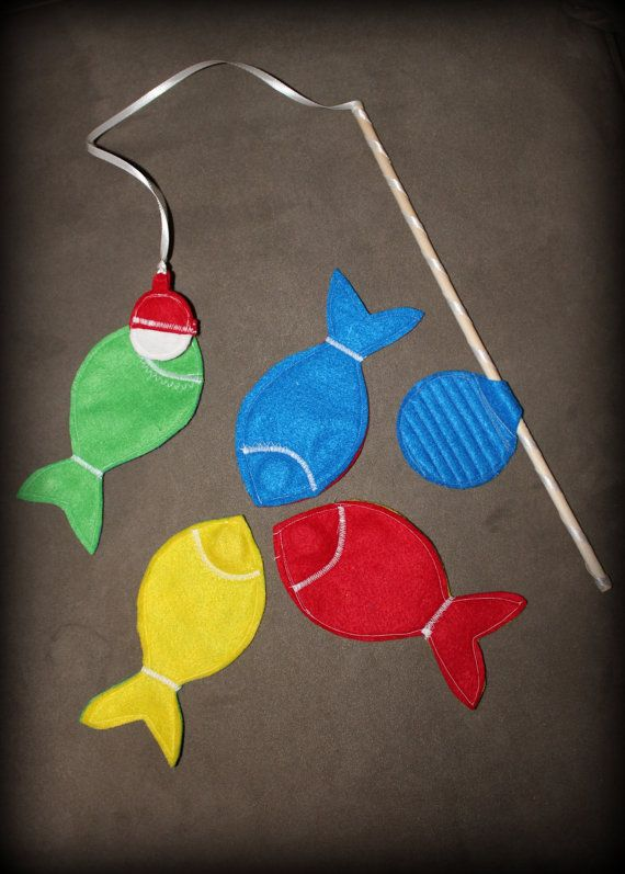 Magnetic Felt Fishing Game- Set of Four Fish and Fishing Pole