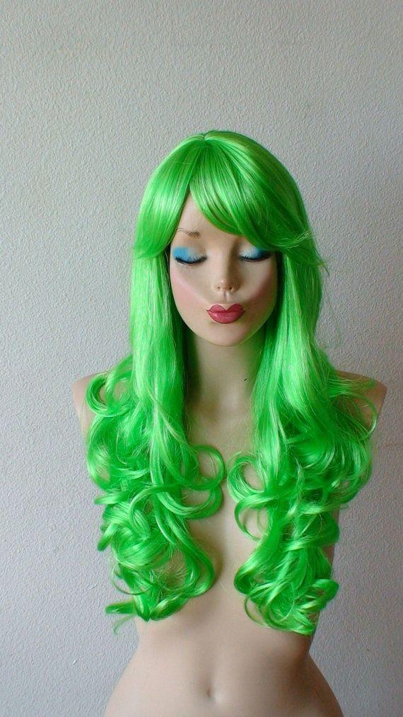 Lime Green Wig. Long Curly green wig. Cosplay wig. by kekeshop
