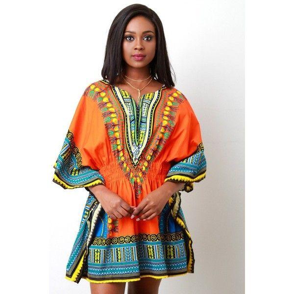 African Dashiki Smock Waist Mini Dress ($54) ❤ liked on Polyvore featuring dresses, short sleeve dress, pattern dress, african dresses, short dresses and print dress