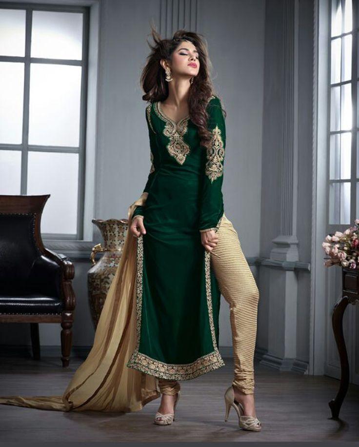 Green Velvet Pakistani Style Suit 65571