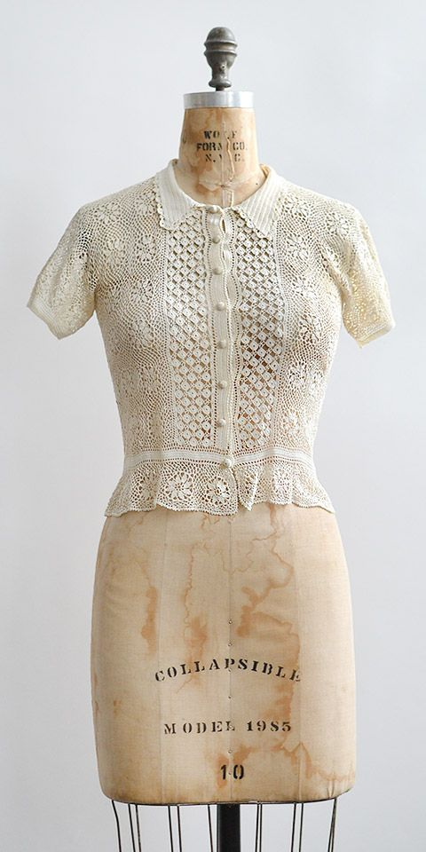 vintage 1930s irish lace crochet top
