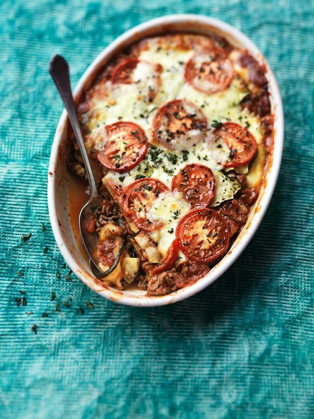 lasagne van dungesneden courgette en aubergine