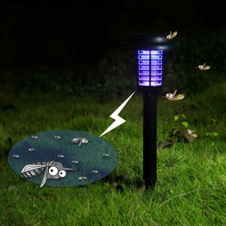 solar power led mosquito killer lamp outdoor garden yard lawn walkway light ro