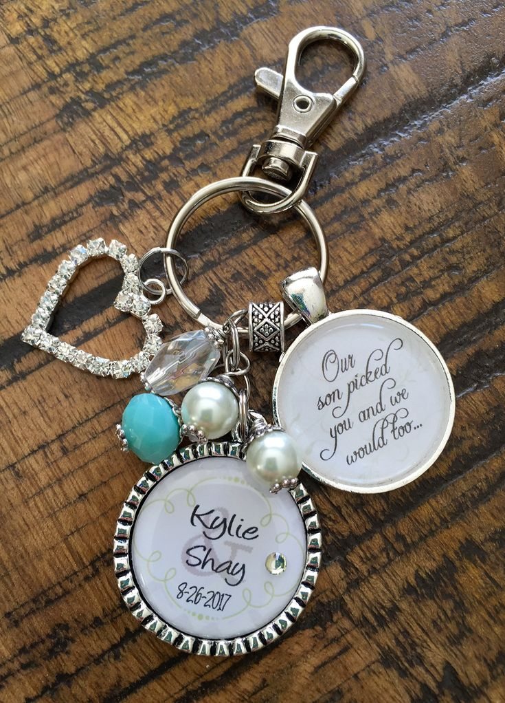 Future DAUGHTER in LAW GIFT, personalized bride to be Our son picked you and we would too wedding date last name bride and groom keychain key chain necklace