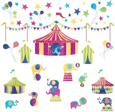Elephant Circus Wall Stickers, Room Decorations and Pictures, Nursery
