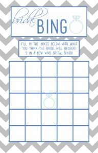 Bridal bingo templates in various colors (blue, gray, pink, green)