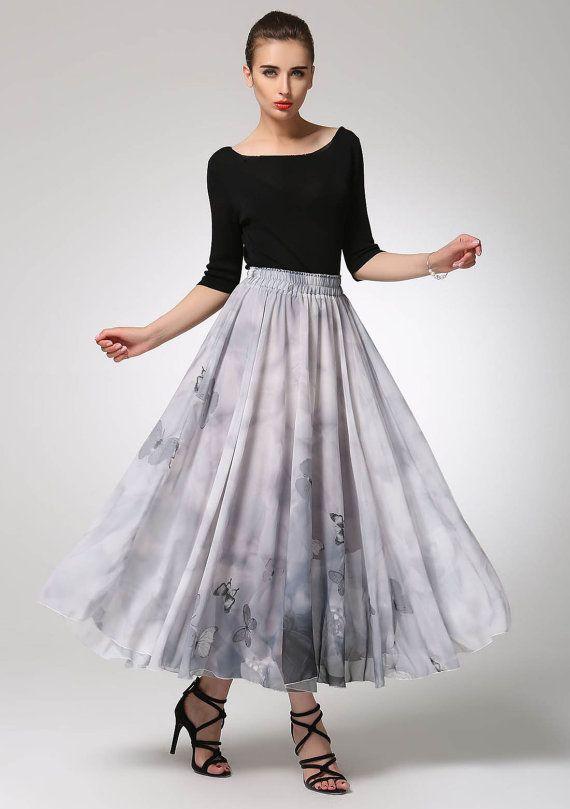 Falda gris falda de gasa falda verano mariposa falda maxi