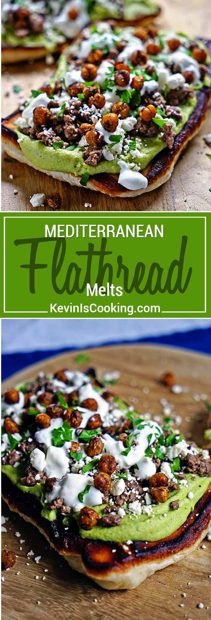 These Mediterranean Flatbread Melts are super easy, made with browned lamb, hummus and feta cheese and the flatbread is made with refrigerated pizza dough. via @keviniscooking