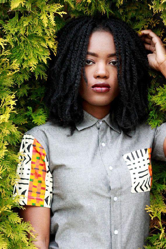 Chemise à manches courtes kente Chambray par SoTribal sur Etsy
