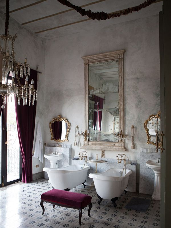 Bath inspiration - his & her tubs. Love the velvet on the chandelier chains.