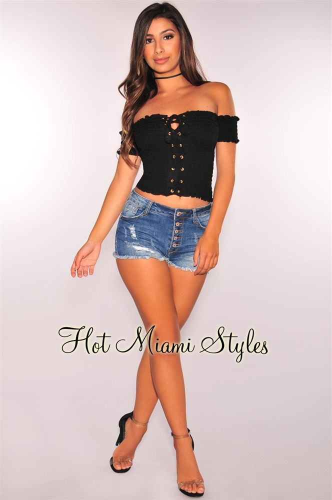 718c3beeb87 Black Smocked Lace Up Off Shoulder Crop Top in 2019   shop just what ...