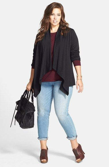 Bobeau One-Button Cardigan, Sejour Tee & Eileen Fisher Boyfriend Jeans  (Plus Size) available at