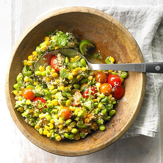 Combine two trendy foods, quinoa and edamame, in this yummy salad: http://www.bhg.com/recipes/from-better-homes-and-gardens/june-2014-recipes/?socsrc=bhgpin062414edamamequnioasalad&page=17