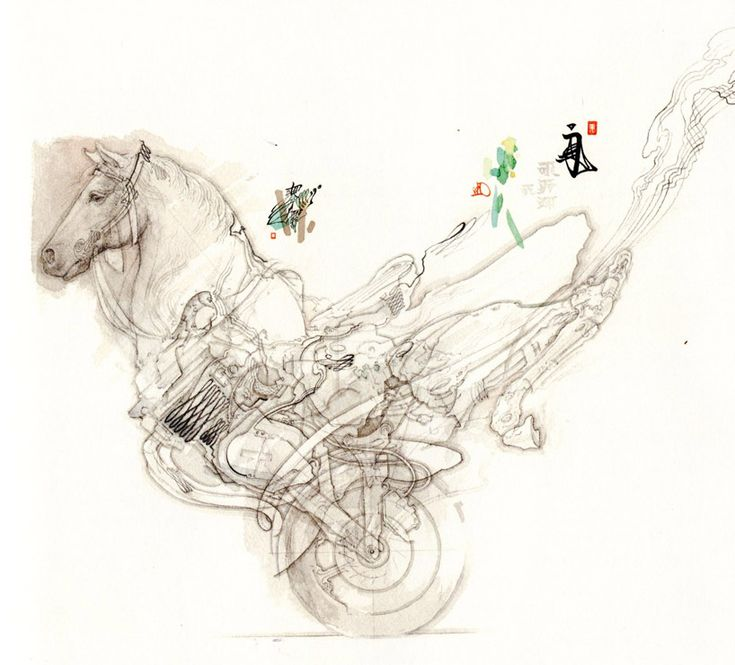 drawing (horse)', 2011  this artwork erases a chronological gap between a warhorse and a motorcycle  pencil and watercolor on paper, 31 x 38cm  image © akira yamaguchi  courtesy gallery HERMES, ginza, tokyoIdeas, Time, Drawing Art, Akira Yamaguchi, Yamaguchi Akira, Artworks Erase, Artworks Exploration, Yamaguchi Drawing, Yamaguchi Exploration