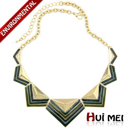 Новое поступление мода женщины позолоченные этническая красочные эмалировка полосой печать сеть колье ожерелья ювелирные изделиякупить в магазине Huimei Jewelry Co., Ltd.наAliExpress