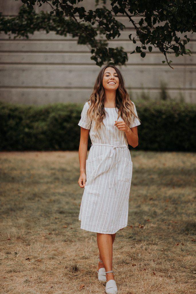Britta Striped Woven Dress