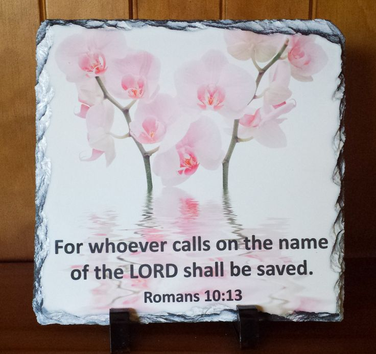"Romans 10:13 ""For whoever calls on the name of the LORD shall be saved""  Handcrafted slate stone plaque with inspirational message, footrests and gift box included.    Limited stock available - http://www.biblestonesaustralia.com.au"