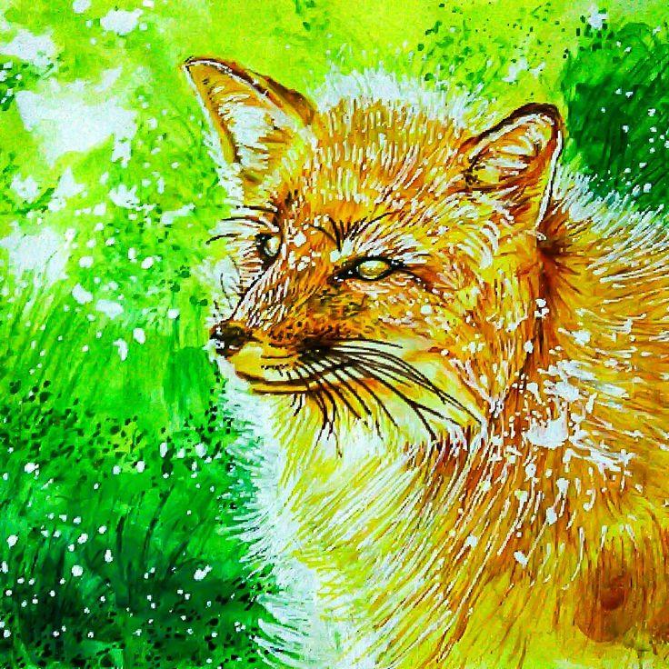 Fantasy fox watercolor