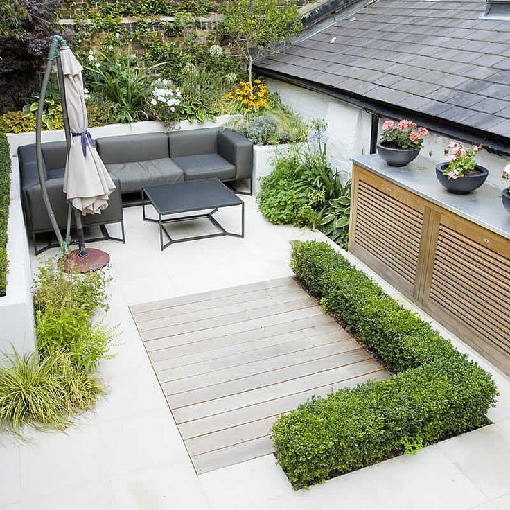 Small Space Landscaping Ideas: Small Outdoor Room Maybe Sandwiched Between Garage And