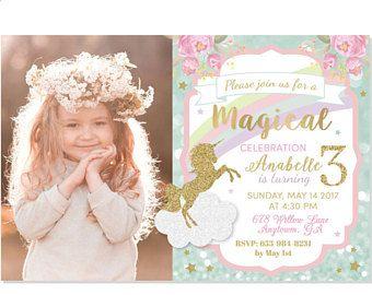 Unicornio invitación, Pastel Unicornio, unicornio mágico fiesta de cumpleaños, invitación de arco iris