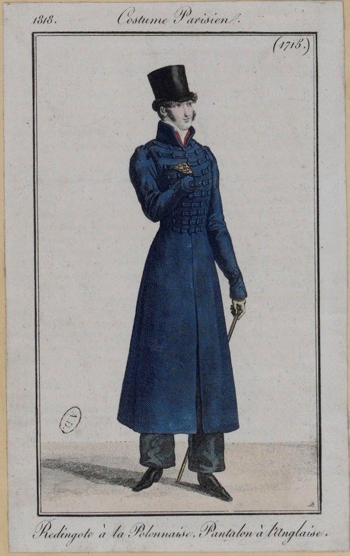 """1818, Costume Parisien """" Redingote a la Polonnoise, Pantalen a l'Anglaise"""""""