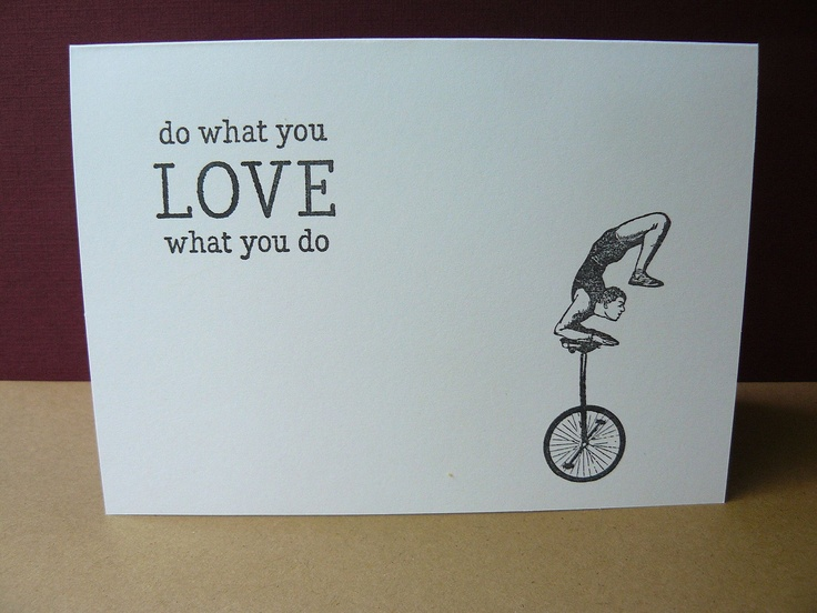 Vintage Card Notecard   Circus Acrobat   Do What You Love Quote Quotation.