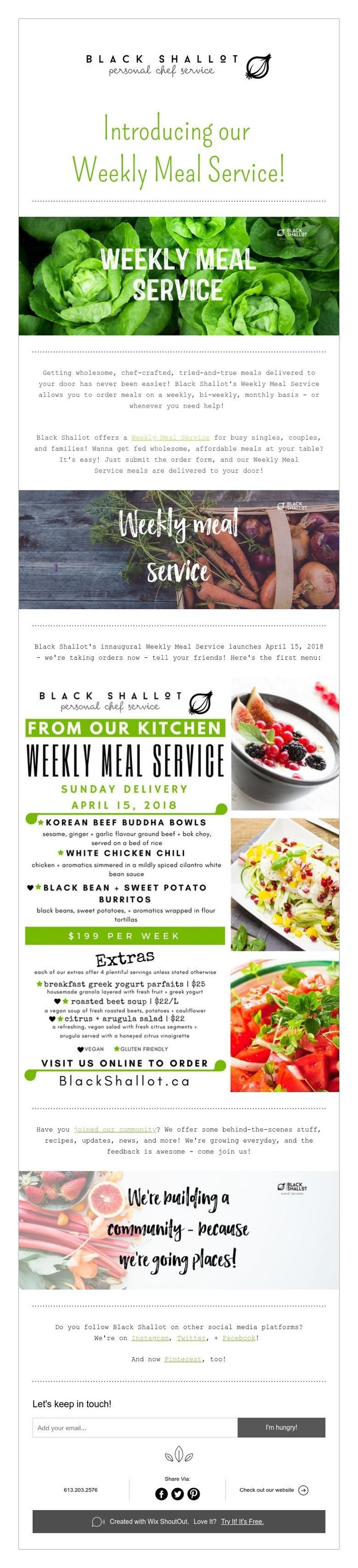 Introducing our  Weekly Meal Service!