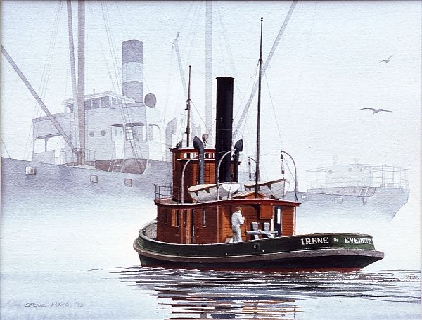 """""""IRENE ASSISTING A SMALL FREIGHTER"""" - Watercolor, in Tugboat Paintings"""