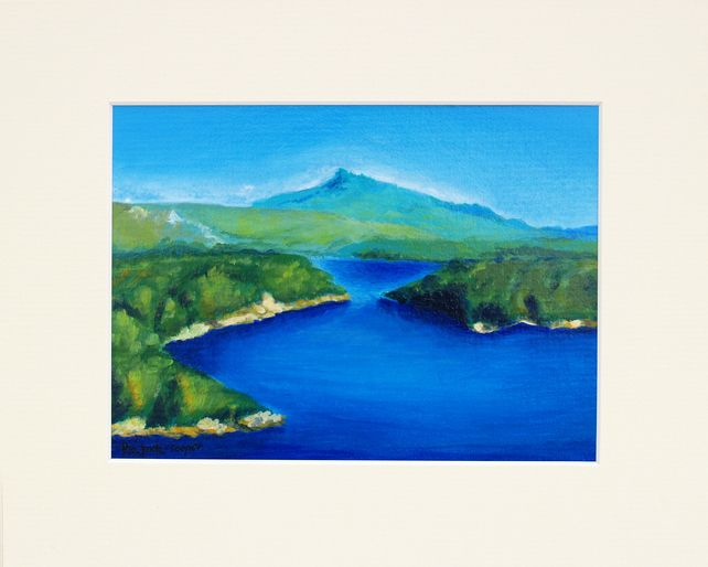 Queen's View, original, small artwork painted not only for Scotland lovers, gift £60.00