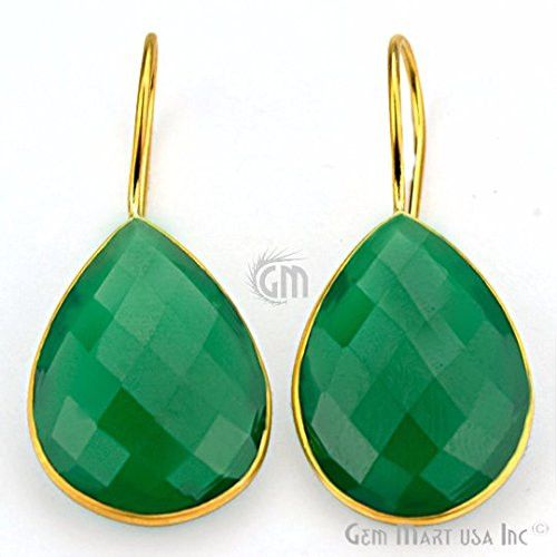 UP Ultrapink Choose Your Smooth Bezel Gemstone Stud Earring 24k Gold Plated Exclusively by GemMartUSA -GREEN ONYX (GOER-90006)