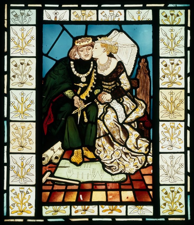 Panel, King René's Honeymoon, Ford Madox Brown, about 1863. Museum no. CIRC.516-1953