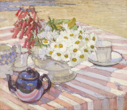 Margaret Preston, Still life with teapot and daisies, 1915, oil on cardboard