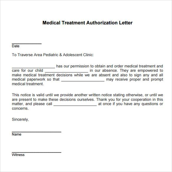 medical treatment authorization letter template child
