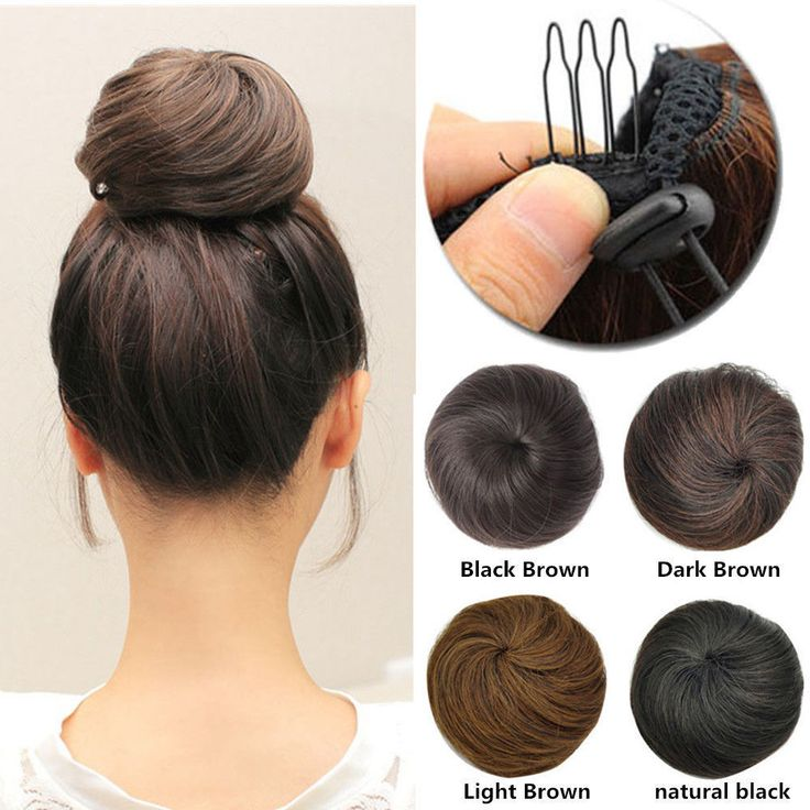 Details about US Clip In On 100% Real as Human Hair Bun Scrunchie Chignon Updo Cover Extension