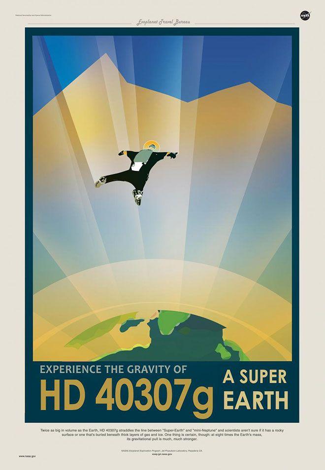 Плакаты, стиль которых выдержан вдухе 1930-х годов, призывают землян приобретать туры наэкзопланеты.