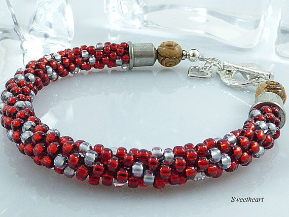 Red Beaded Kumihimo Bracelet Carved by TheLittleEmptyNest on Etsy