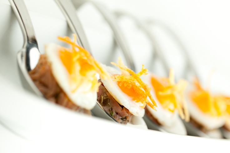 canapes - ham, egg and chips