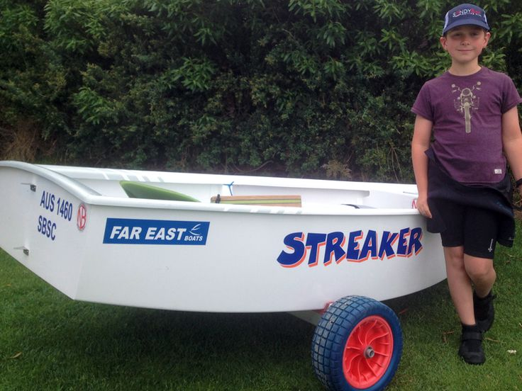 Another great example of some simple Optimist Sailing Dinghy Name Graphics: Streaker.  Streaker's owner Ollie and his parents designed this Dinghy Name themselves! Do you feel up to the challenge? Head over to the Boat Names Design Engine http://boatnames.com.au/design-diy-boat-name-kits.htm if you want to have a go at designing a Name Graphic for your own Opti.