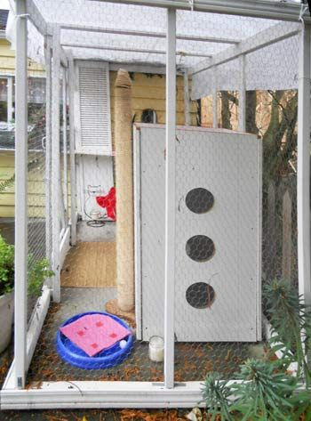 End view of Outside cat enclosure. Something like this so they can't go everywhere in the garage.