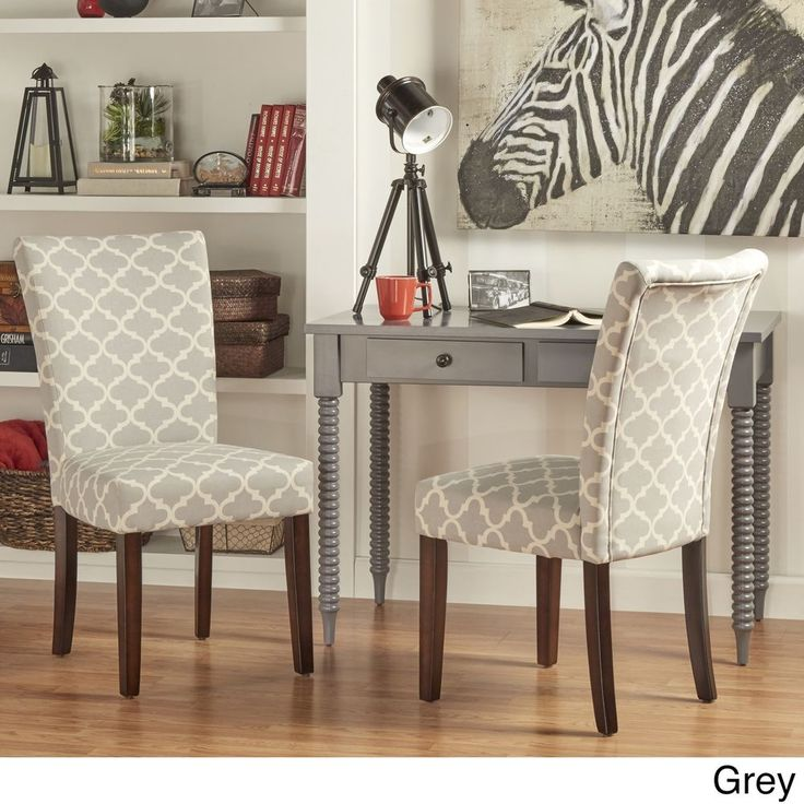 Dining Room Chairs Set Of 2 Eclectic Chair Classic Parson Upholstered Print GREY #Unbranded
