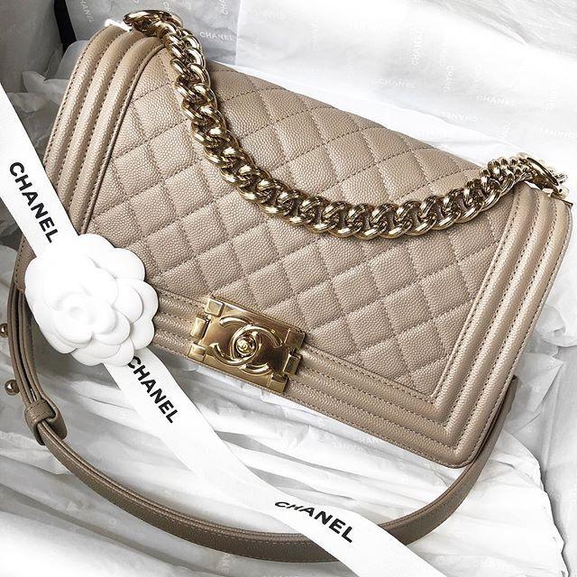 5149da2a7ea4 Beauty 💞😍 Authentic Chanel Dark Beige 17P Caviar Old Medium Boy with  shiny light gold hardware! $4350 at Opulent Habits! Comes full set…