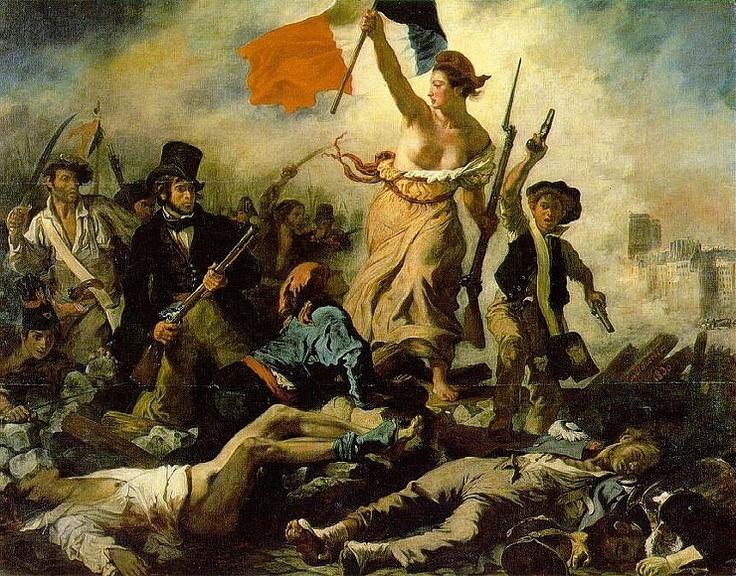 """들라크루아, """"민중을 이끄는 자유의 여신"""", 1830, 프랑스.    19세기 전반 유럽에서 파생된 낭만주의를 단적으로 보여주는 그림이다. 메두사 그림처럼 그리스 신화, 즉 고전이 아닌 토픽, 그 중에서도 조국애를 중심으로 그린 작품이다. 혁명전쟁의 열망을 화폭에 드러낸 것인데 씩씩하고 기운찬 여성의 모습을 묘사하고 있다.    한 손에 기를, 또 다른 손에 총을 잡고 있는 이 여성은 분명 자유의 여신이다. 하지만 그녀는 으레 여신하면 떠올리는 아름다운 여신과는 거리가 멀다. 그녀의 피부는 때묻어 있고, 옷에는 먼지가 묻어 있으며 머리도 잘 정돈되어 있지 않다. 하지만 그래서 더더욱 여신이다. 혁명이 일어나는 장소에서 그녀는 화약 연기와 흙먼지를 직접 온몸으로 맞으며 친히 민중을 이끌고 있다. 외양은 추할지언정 그 마음과 태도는 그 어느 여신보다도 아름다운 것이다."""