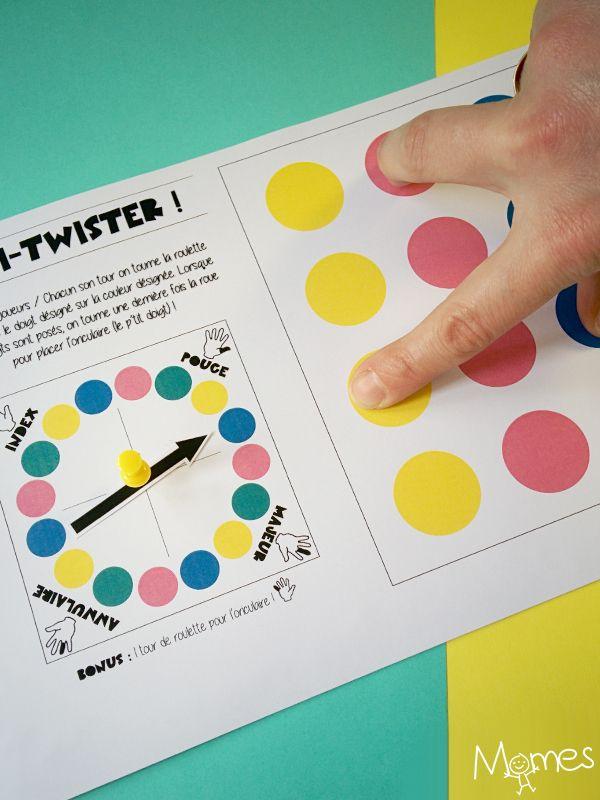 Vous connaissez le Twister, ce célèbre jeu qui consiste à poser mains et pieds sur les ronds de couleurs d'un tapis ? Voici la version mini Twister pour les doigts ! Même principe sauf qu'on joue avec 4, 5, 8 ou même 10 doigts ! Le Twister à doigts à imprimer, en voilà une curieuse idée, mais l'air de rien, l'enfant s'amuse et apprend le nom des doigts tout en travaillant sa motricité fine.