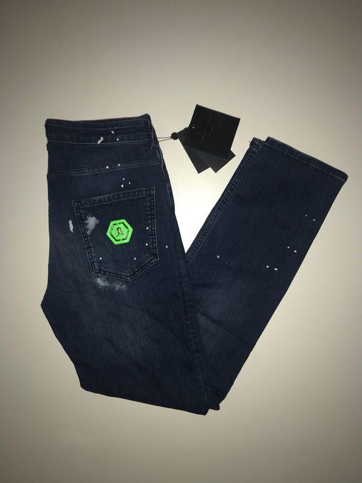 """Philipp Plein Super Straight Cut Jeans  """"Fluo python"""" Size 30 Denim"""