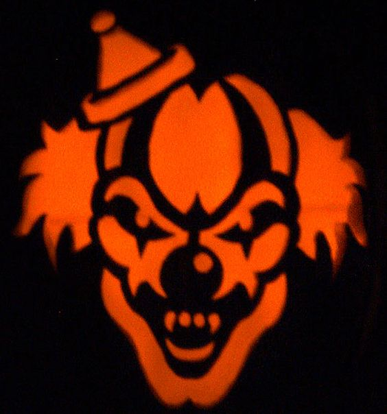 Scary Pumpkin Carving Patterns: Evil Clown Stencils Scary Clown